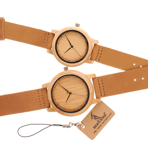 BOBO BIRD Lovers Wood Watches for Women Men Leather Band Bamboo Couple Casual Quartz Watches OEM as Gift Lahore