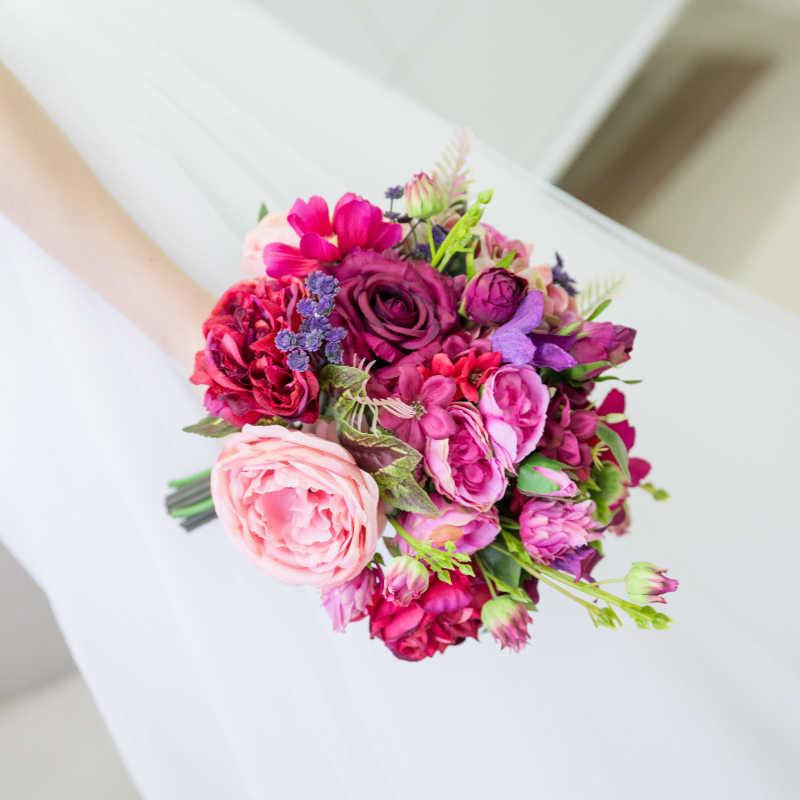 JaneVini رومانسية الزفاف الزهور باقات الزفاف الأرجواني الوردي الورود زهور صناعية من الحرير العرائس بروش زهرة رامو نوفيا بودا