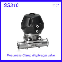1 5 SS316L Sanitary Stainless Steel EPDM Pneumatic Clamp Diaphragm Valve Sterile Food Grade F Wine