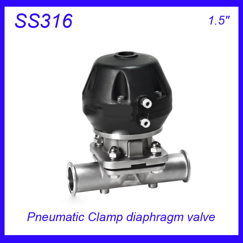 1.5 SS316L Sanitary stainless steel EPDM Pneumatic Clamp diaphragm valve sterile food grade f Wine, milk, beverages