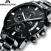 MEGALITH Men's Watch Luxury Date Calendar Chronogra Watch For Men Military Waterproof Sports Black Stainless Steel Wrist Watches
