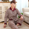 Spring Fall men's knitted cotton cardigan pajamas long-sleeved trousers Men Lounge Pajama Sets Plus size 3XL 2XL Sleepwear 129
