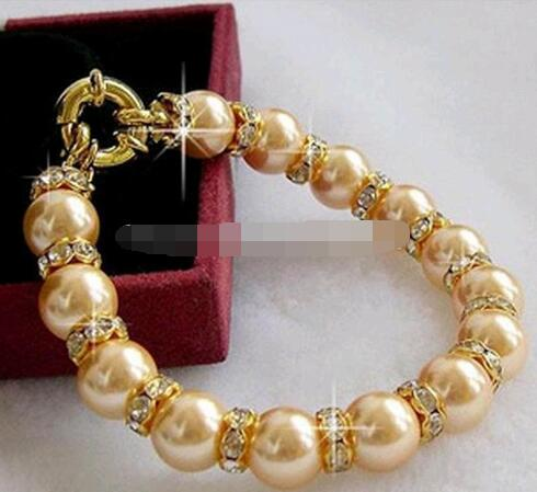 Selling Jewelry>>>Natural Stone Fashion Style diy 10mm round Color south sea shell pearl crystal bracelet jewelry beads 7.5inch