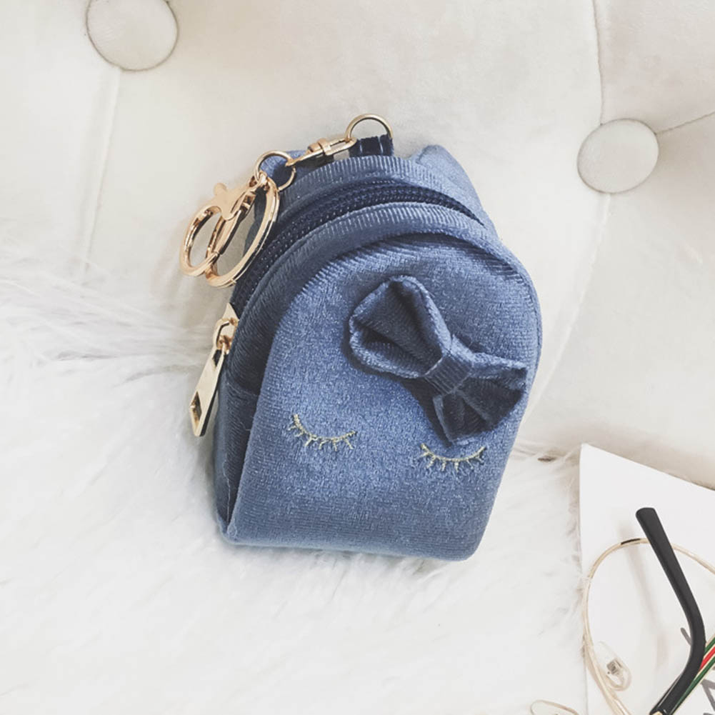 Korean Mini Coin Bag With Keyring PU Leather Purse Cute Cat Wallet Card Holder Bowknot Sweet Girl Casual Money Bags LBY2