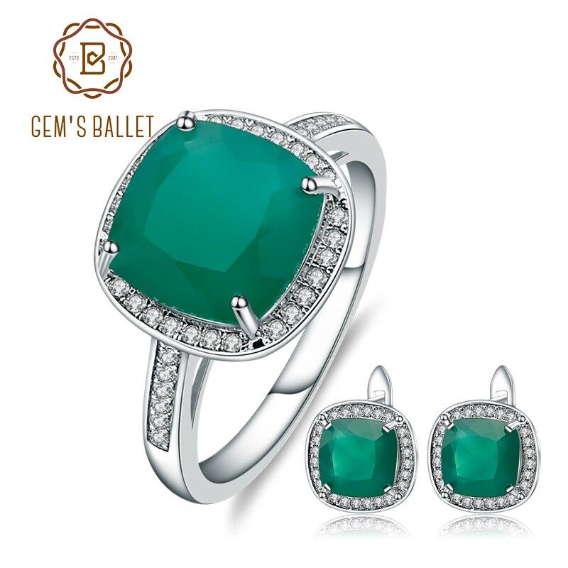 GEM'S BALLET 9.62ct Natural Green Agate Stud Earrings Ring Set 925 Sterling Silver Gemstone Fine Jewelry Set For Women Wedding