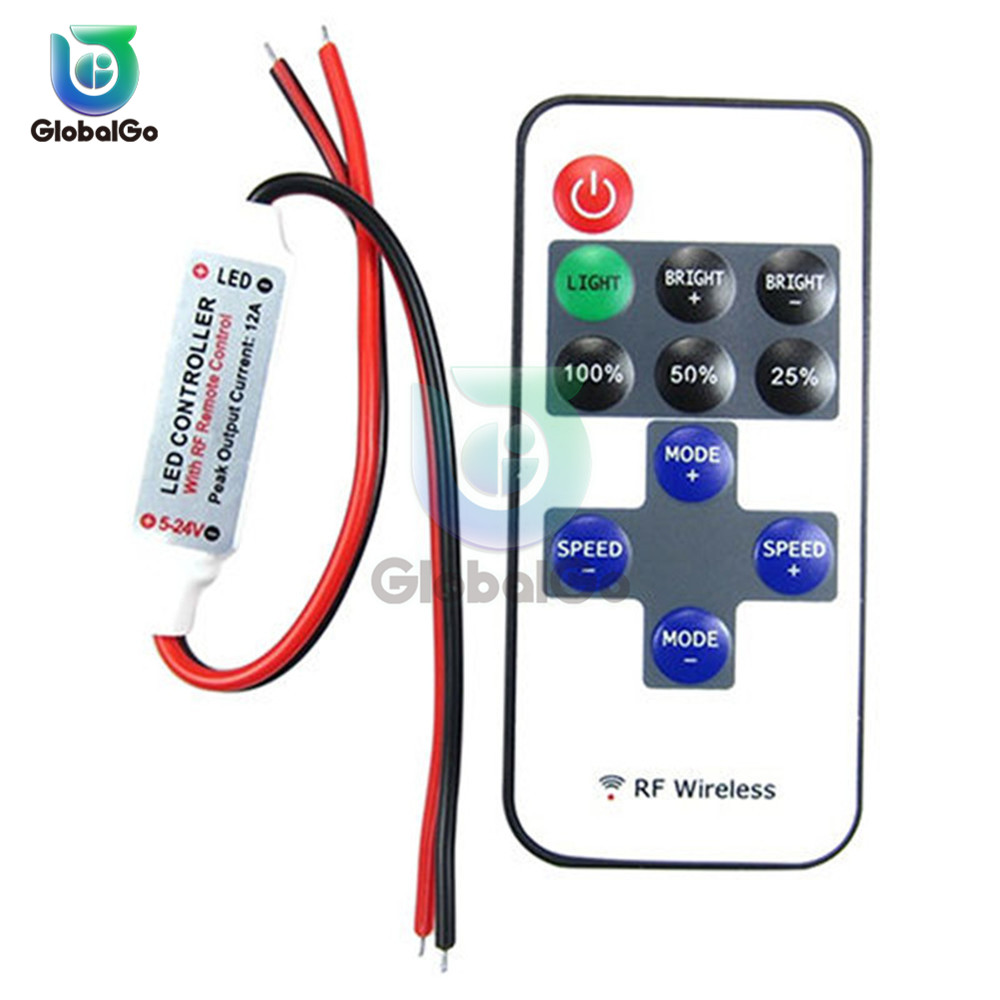 8 Modes 12V LED RF Wireless Remote Control Switch Light Modulator Mini Remote Dimmer Controller Led Strip LED Controller Tool