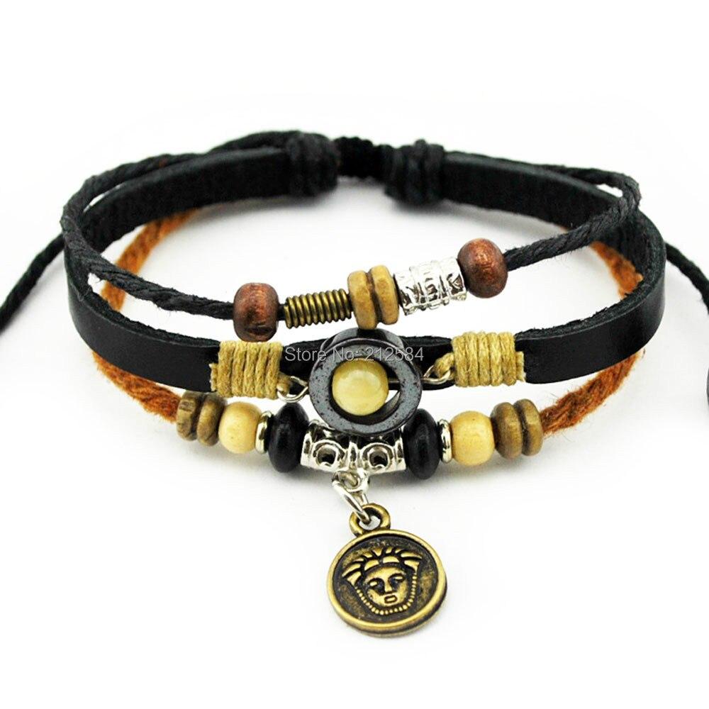 A545 Handmade Ethnic Tribal Surfer Hemp Leather Bracelet Fashion Mens  Womens Charm Bracelet Wristband Cuff Free