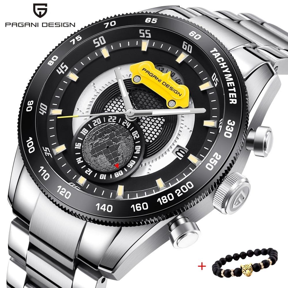 2018 nowe Top marka PAGANI projekt chronografu zegarki sportowe męskie zegarki ze stali nierdzewnej wodoodporny zegarek kwarcowy zegary Relogio Masculino w Zegarki kwarcowe od Zegarki na  Grupa 1