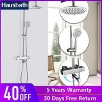 Shower Faucets Set Thermostatic Tap Waterfall Jet Five Function Shower Bath Mixer Tap Bathroom Hand Shower Head Slide Bar