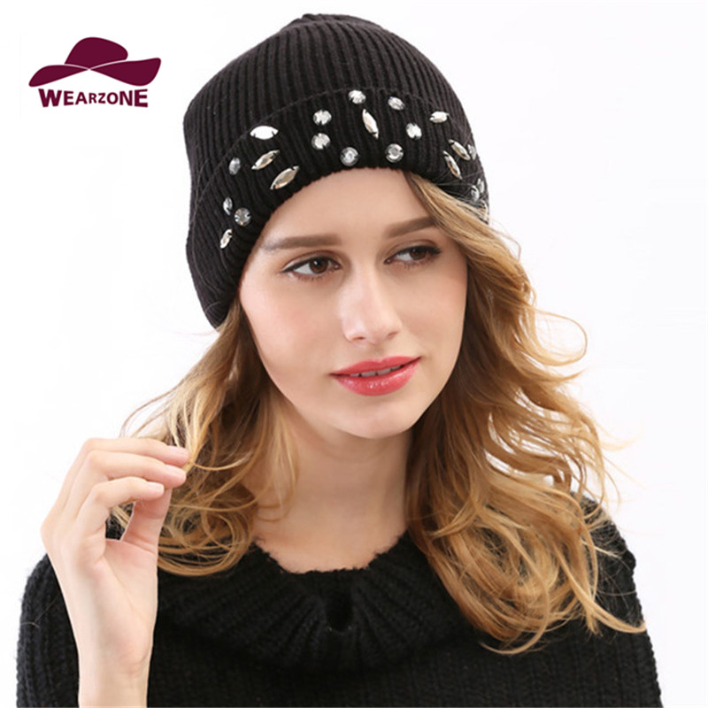 New Woman Winter Hats Knit wool Caps Fashion Skullies warm Beanie Black Beanies with bling Diamond hats hiphop turban cap D00029 skullies beanies winter woman fashion knitting hats with pompom beanies girls warm letter b cap