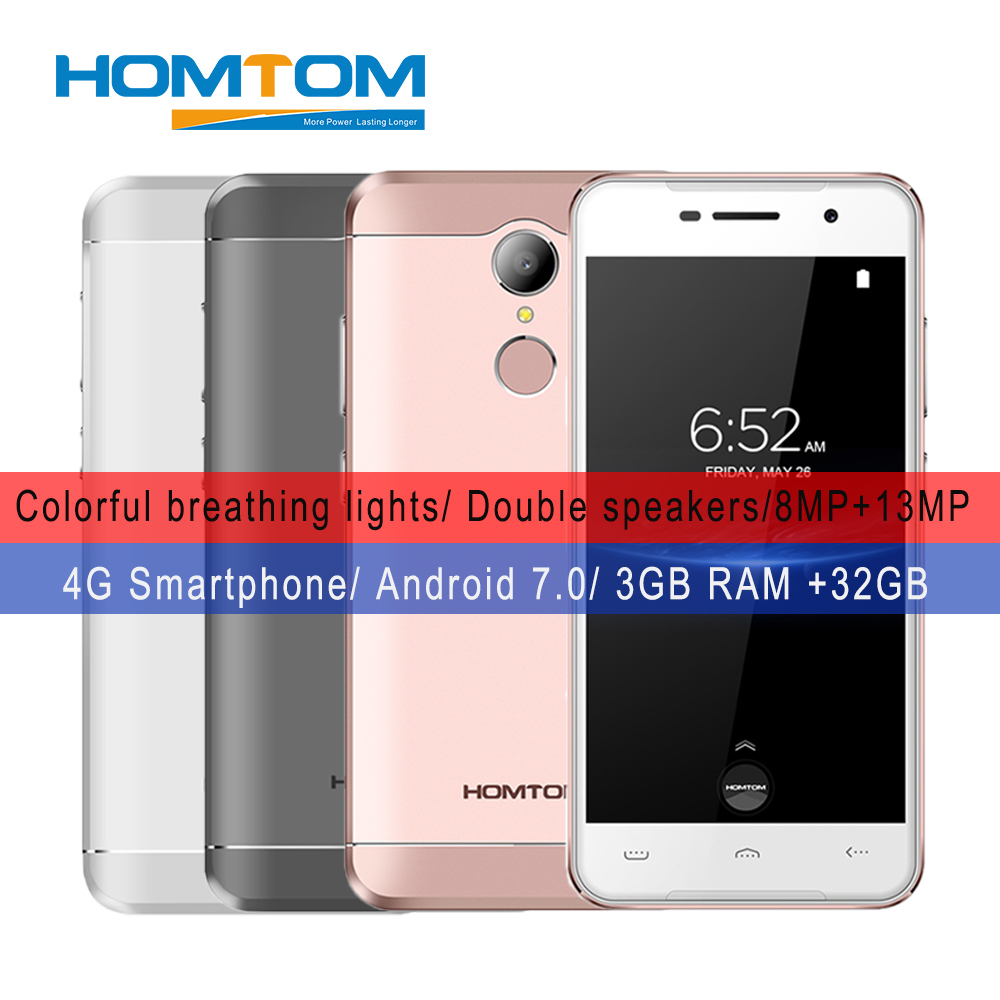 HOMTOM HT37 PRO Smartphone MTK6737 Quad Core 1.3 GHz 3G RAM 32G ROM Android 7.0 Mobile Phones 5.0 Inch HD OTG Fingerprint 4G LTE