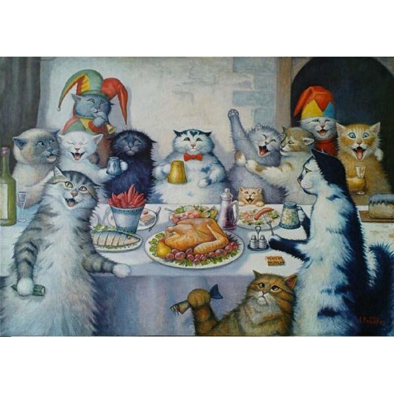 H2399 алмазной вышивкой, картина, вышитая бисером, алмаз вышивать Cat ужин