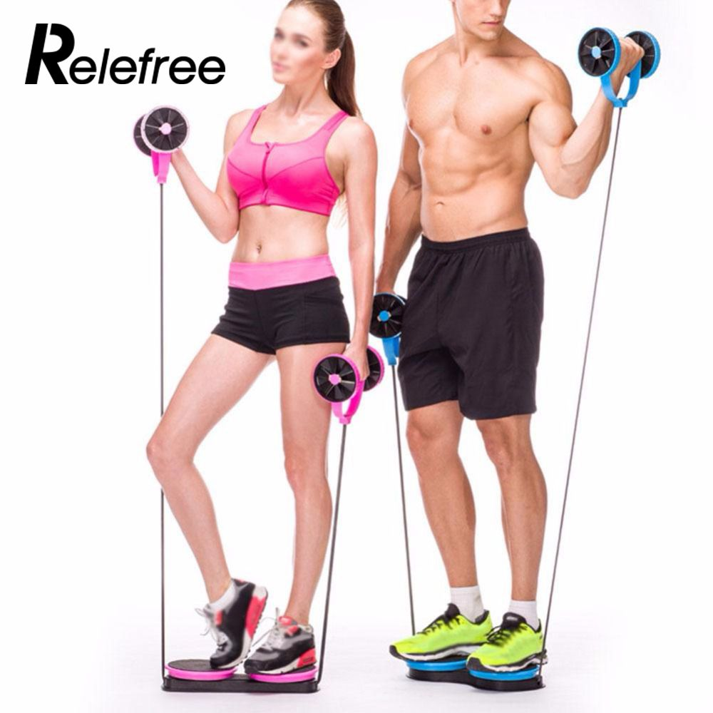 relefree fitness equipment Multi-functional Home Exercise Fitness Pull Rope Training Slimming Abdominal Double Wheels Roller