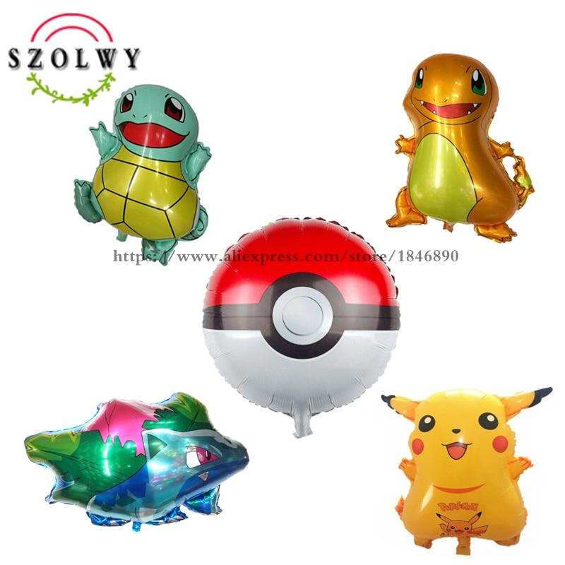 Hot Sale 5 Styles/lot Pokemon Go Aluminium Foil Balloons Inflatable Toys Pikachu Pokeball Bulbasaur Charmander Squirtle Balloon