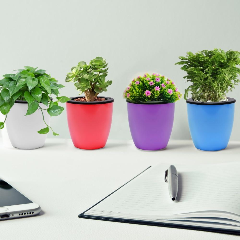 Color Plastic Flower Pots For Garden Indoor Home Desktop Decoration Gardening Flower bucket Plants Flower Pot in Flower Pots Planters from Home Garden