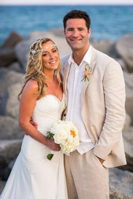 2018 Latest Coat Pant Designs Champagne Linen Wedding Suits For Men Custom Groom Tuxedo Slim Fit