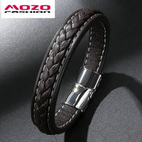 5Pcs FASHION Male Jewelry Men Bracelet Black Brown Vintage Leather Bracelet Stainless Steel Magnetic Clasps Bracelets