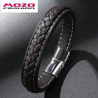 5Pcs FASHION Male Jewelry Men Bracelet Black Brown Vintage Leather Bracelet Stainless Steel Magnetic Clasps Bracelets