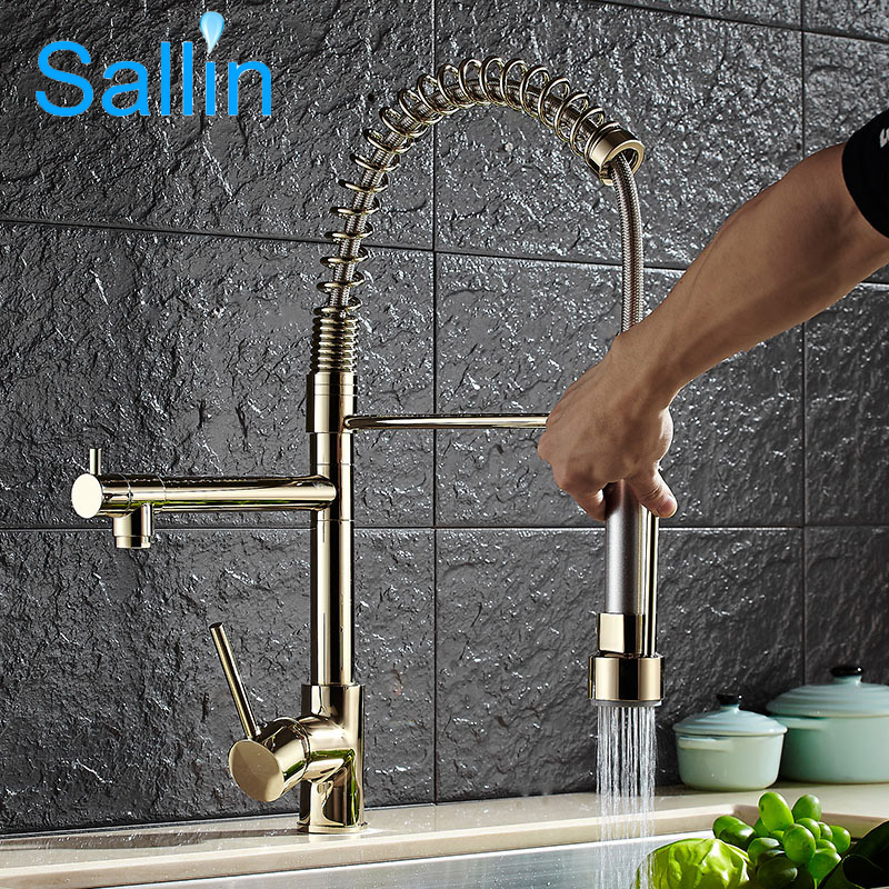 Luxury Gold Color Kitchen Faucet Tap Two Swivel Spouts Extensible Spring Mixer Tap Pull Out Down Kitchen Sink Faucet Torneira good quality wholesale and retail chrome finished pull out spring kitchen faucet swivel spout vessel sink mixer tap lk 9907