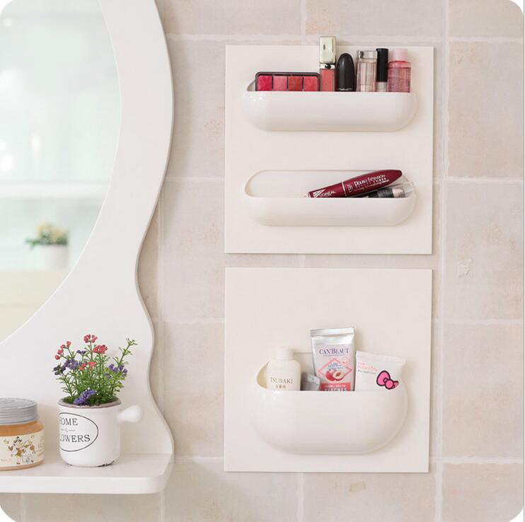1 Pcs 22 22cm Bathroom Accessories Wall Stick Type Bathroom Cup Toothbrush Set Shelf Rack For