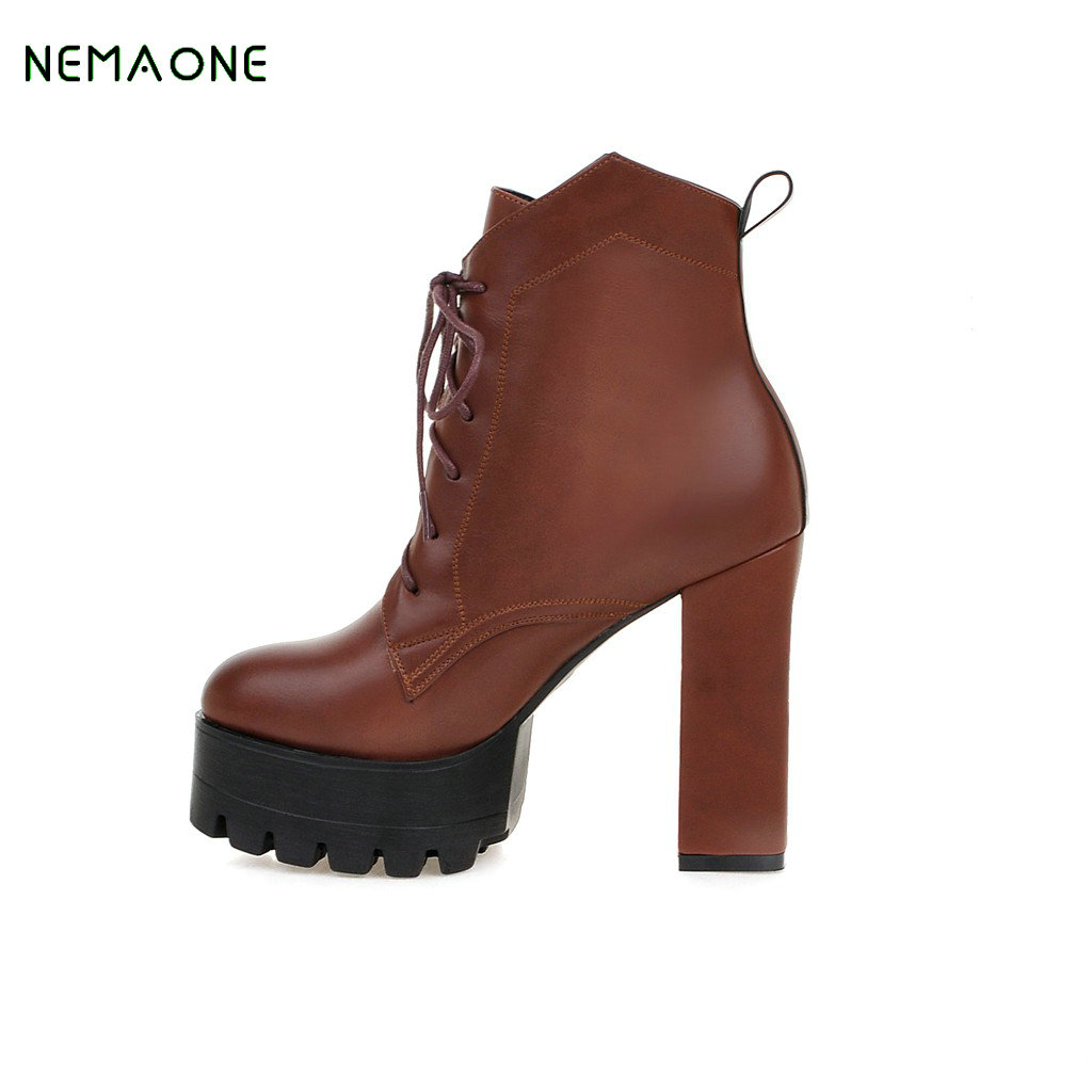 цены  NEMAONE Women Winter Snow Ankle Boots Lace Up High Heels Platform Warm Fur Shoes Woman Botas Mujer Big Size 34-43