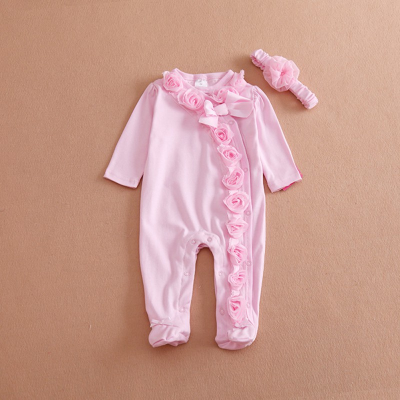 Princess Style Newborn Baby Girl Clothes Bow/Flowers Romper Clothing Set Jumpsuit & Headband 2 PC Cute Infant Cirls Rompers LM75 newborn baby clothes cute cartoon baby rompers sleeveless one piece jumpsuit baby girl romper infant clothing baby costumes boys