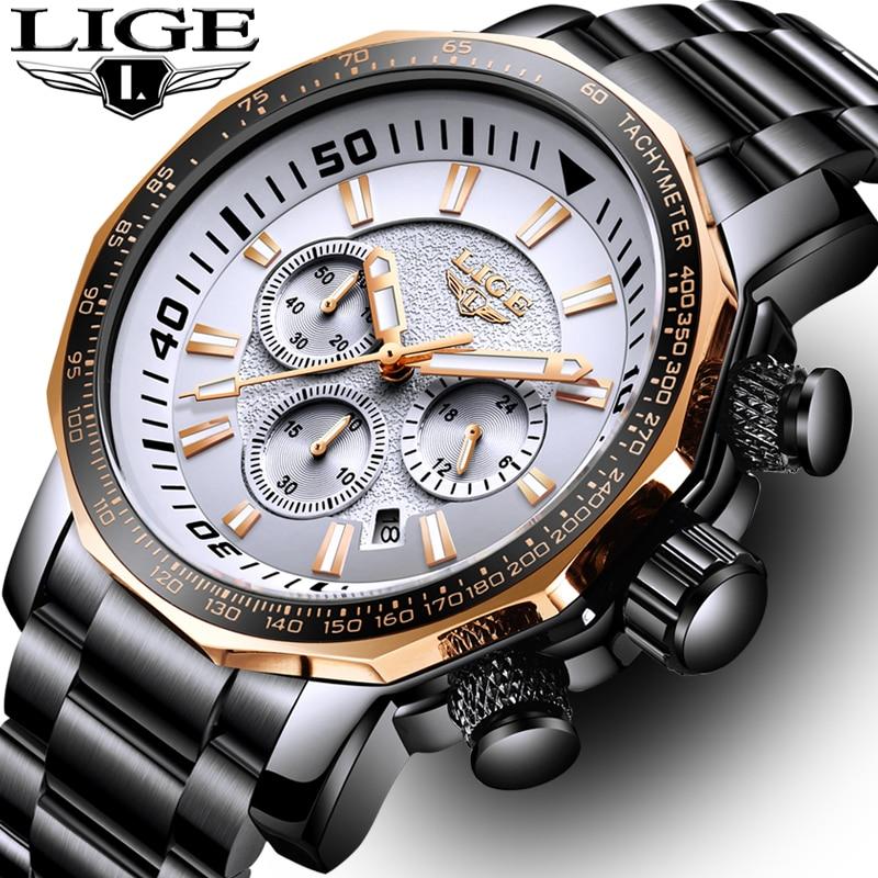 LIGE Marca de Moda Homens Relógio Cronógrafo Relógio de Quartzo Esporte Militar Relógio À Prova D' Água Homem de Aço Completa Negócios Relogio masculino