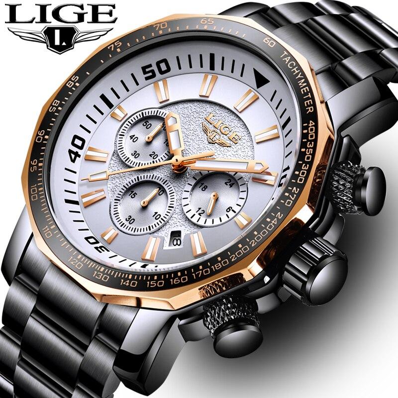 LIGE mode marque hommes montre chronographe plein acier affaires Quartz horloge militaire Sport étanche montre homme Relogio Masculino
