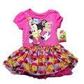 Оптовая продажа 3 шт./лот 1-2 лет старых новорожденных девочек минни маус платье цветы печати платья симпатичные костюм для лета