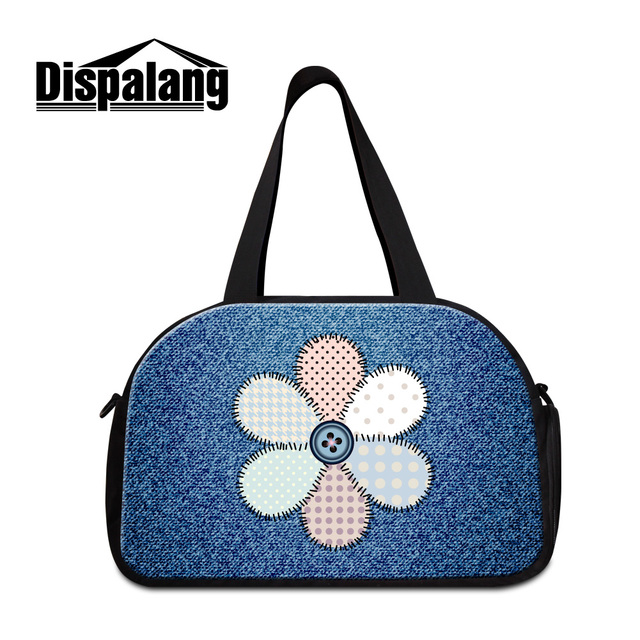 Dispalang 3D colorful floral denim print travel duffle bags for men vintage  women s canvas business luggage shoulder bag package dc0139a540b8f