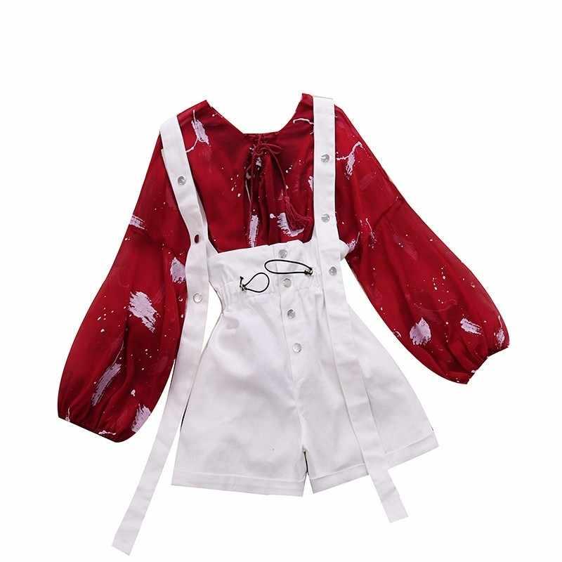 เทศกาลฤดูร้อน 2009 V-โฟมพิมพ์เสื้อชีฟอง high Street เอวกว้างขา Jean เข็มขัดกางเกง 1618