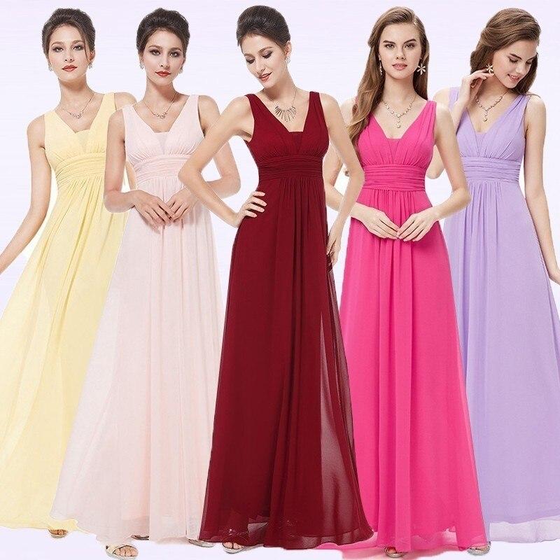 Burgundy Bridesmaid Dresses 2018 EB20118 Elegant Deep V-neck Ruched ...