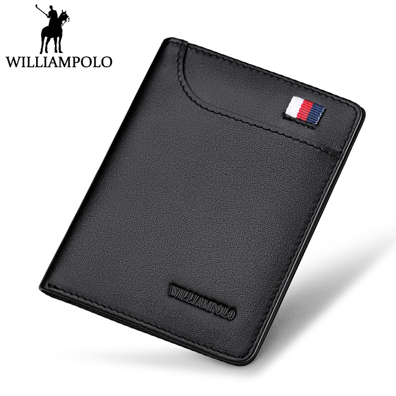 WilliamPOLO Slim Wallet Men Genuine Leather Mini Wallet Women Cowhide Short Wallet Purse Card Holder Coin Pocket Male Wallets kawaii big stuffed