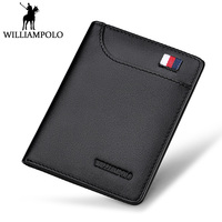 WilliamPOLO Slim Wallet Men Genuine Leather Mini Wallet Women Cowhide Short Wallet Purse Card Holder Coin Pocket Male Wallets