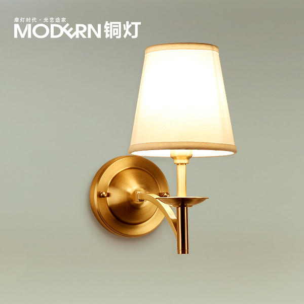 the lamp copper modern minimalist living room balcony bedroom bedside lamp head single aisle American copper wall lamp wall light 12w led wall lamp bedroom bedside living room hallway stairwell balcony aisle balcony lighting ac85 265v hz64