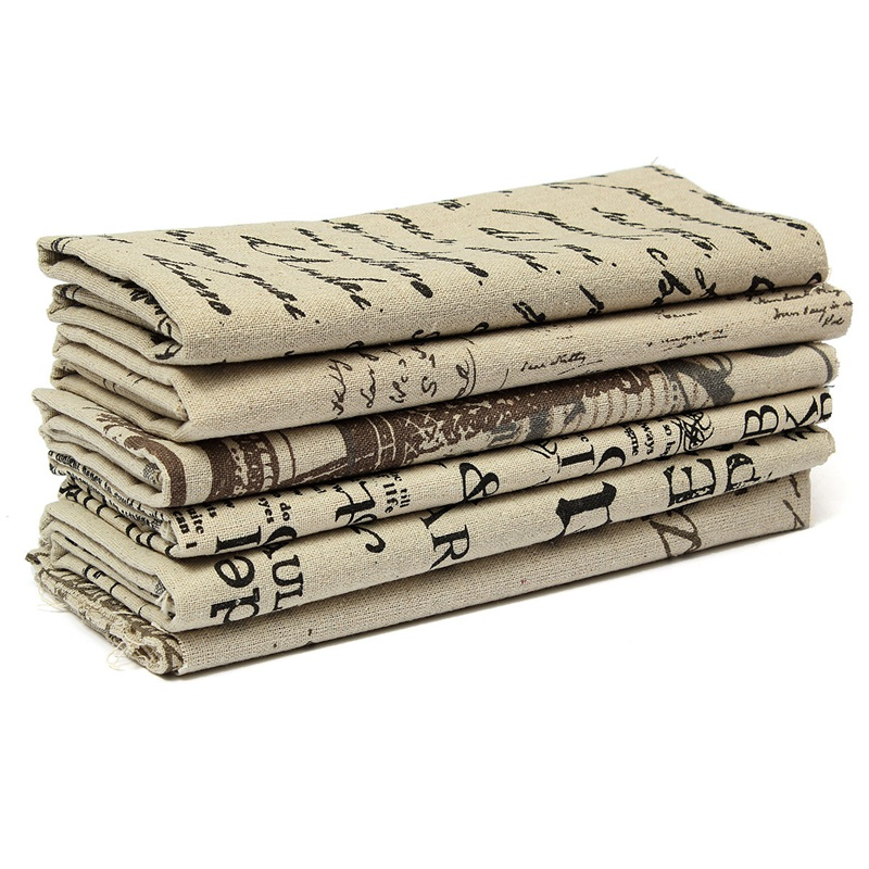 DIY Vintage Printing Pattern Cloth Natural Cotton Linen Fabric Doll Textile Craft Patchwork Sewing 50X80CM Multi Option