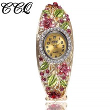 Women Flower Bangle Watches Ladies Fashion Gold Bracelet Wrist Watch