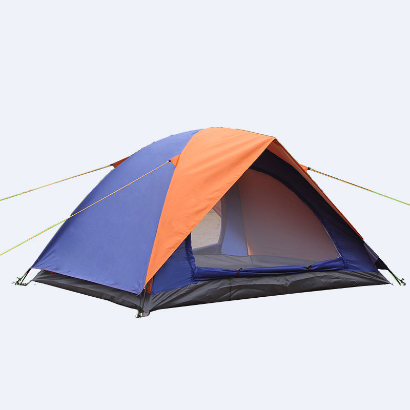 Outdoor 2 People Camping Tent Double Layer 2 Doors Waterproof Trekking Barraca Hiking Beach Hunting Garden Blue And Green Tenda