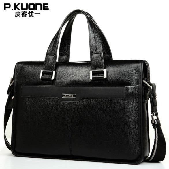 P.KUONE Genuine Leather Men's Briefcase Business Shoulder Bag Casual Travel Handbag Messenger Bag For 15 Inch Notbook