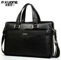 P.KUONE Genuine Leather men's Briefcase Business Shoulder Bag Casual Travel Handbag Messenger Bag for 15 inch notbook Men's Backpacks