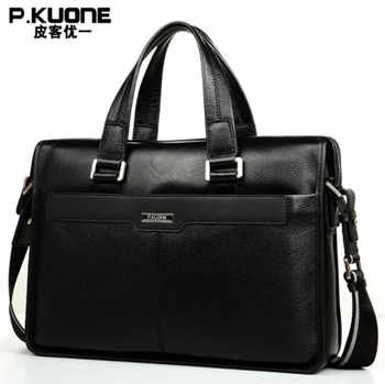 P.KUONE Genuine Leather men's Briefcase Business Shoulder Bag Casual Travel Handbag Messenger Bag for 15 inch notbook - DISCOUNT ITEM  0% OFF All Category