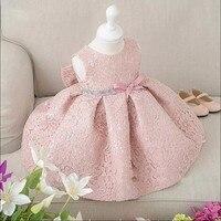 Girls Elegant Dress Baby Girls 2017 Summer Fashion Pink Lace Big Bow Party Tulle Flower Princess