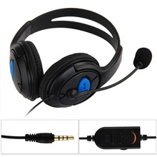 Marsnaska Hot Sale dual big ear Wired Gaming Chat Headset Headphone Microphone for Sony Playstation 4 PS4 Black