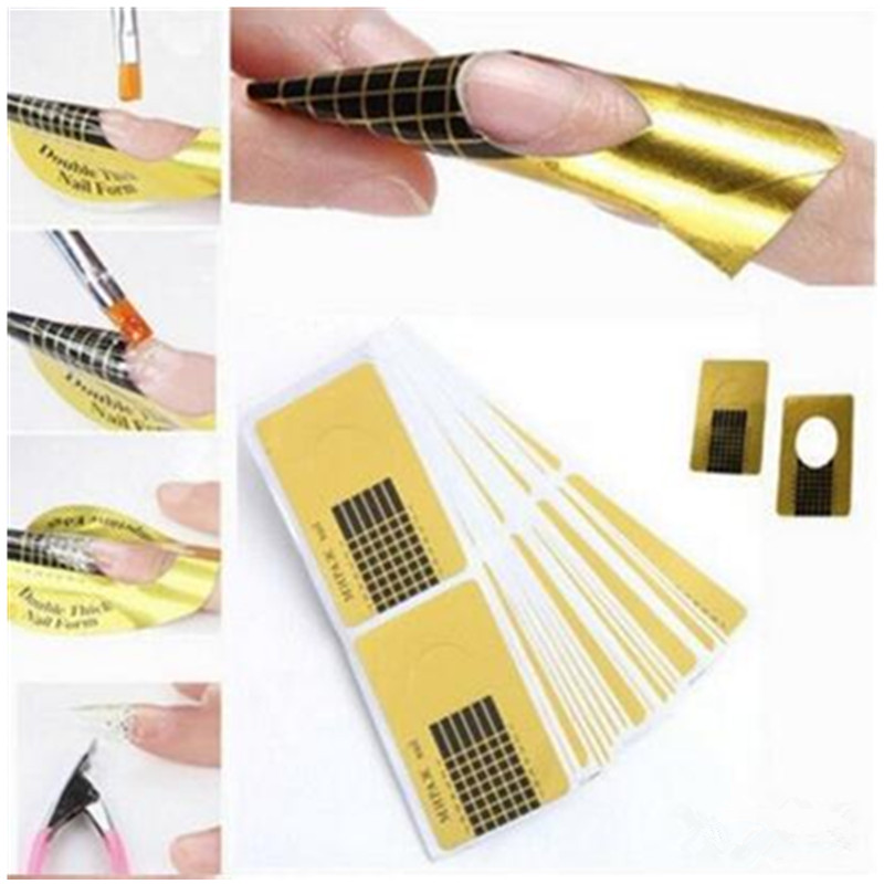 500pcs Golden Paper Double Thick Professional Nail Art Tool for Acrylic UV Gel Tip Extension Sticker Nail Polish Curl Form bb крем maybelline new york maybelline new york ma010lwfjt68
