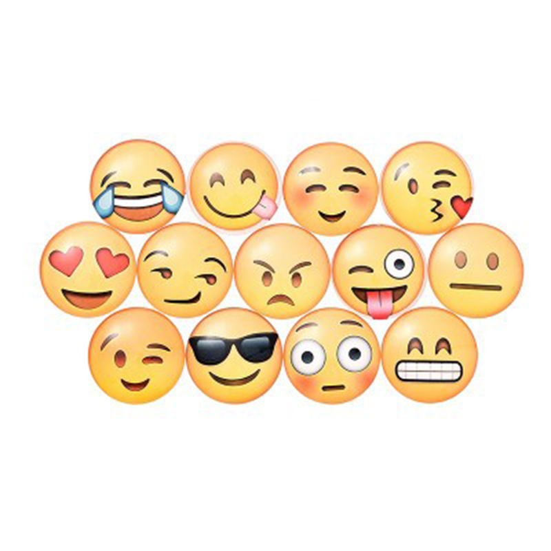 Hot Cute Emoji Cartoon Emoticons Glass Glue Sign Pattern Dome Glass Fridge Magnet Smiley face stickers Gift For Friend