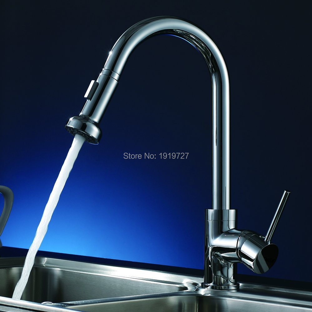 Modern Pull Out Kitchen Faucet Single Handle with Pull Down Sprayer Single Lever Mixer Tap for Bar Prep Sink Polished Chrome