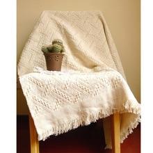 Американский Вязаные пледы Одеяло однотонные белые Одеяло пледы дома покрытие стола пляжные дорожная кровать диван Применение FG1096