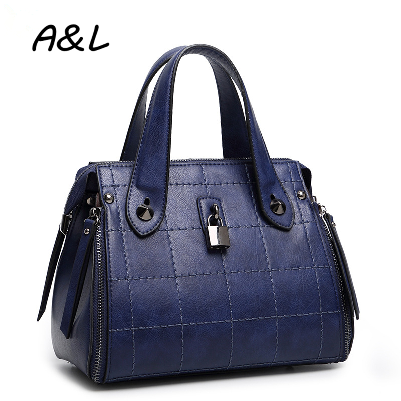 ФОТО Vintage Leather Women Bag Luxury Designer Women's Handbags Famous Brand Shoulder Bags Ladies Fashion Plaid Tote Sac a Main A0173