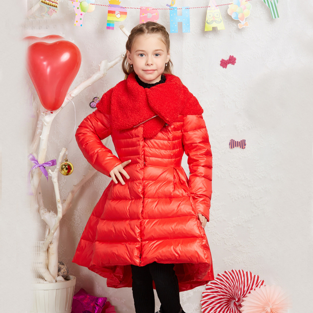 fab33eb028c2 Girls Jackets Teenage Long Hooded Down Jacket Princess Thick Warm ...
