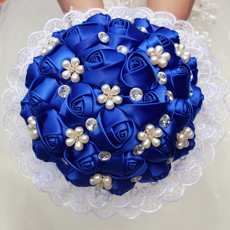 1Piece Lace New Simple Royal Blue Rose Flowers Bridal ...